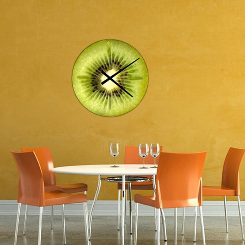 horloge murale cuisine design kiwi