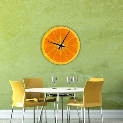 horloge murale cuisine design orange