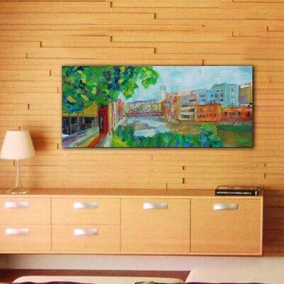 modern urban paintings for the living room-the Onyar river, Girona