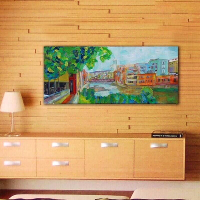 cuadros modernos ciudades  rio Onyar, Girona