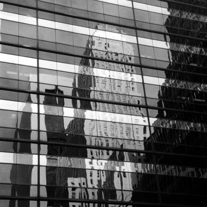 Urban painting photography reflection of a building in New York