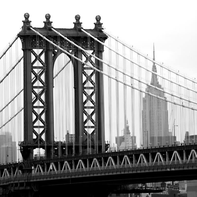Urban painting photography Manhattan bridge B/N