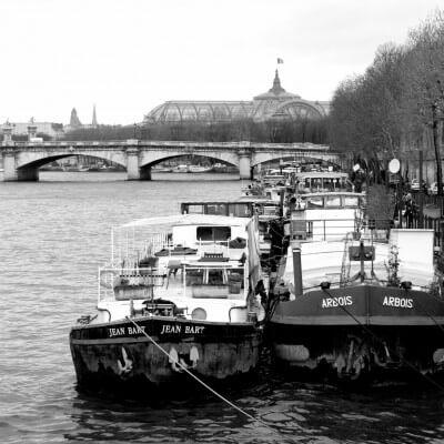 cuadros modernos fotografía barcos en el Sena