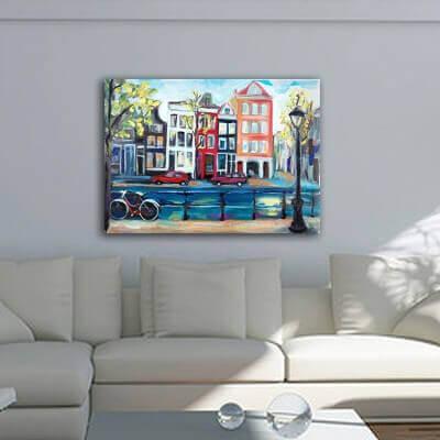 Tableau moderne urbain-maisons à Amsterdam