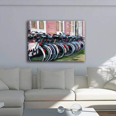 cuadros modernos urbanos de ciudades-bicicletas en Amsterdam