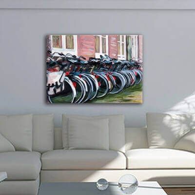 Urban painting bicycles in Amsterdam