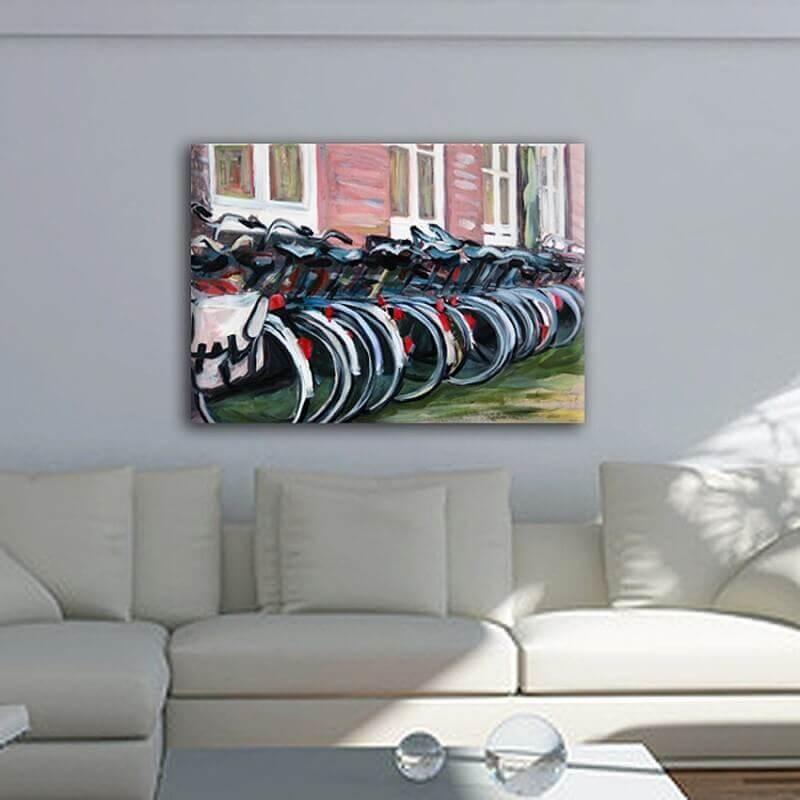 cuadros modernos ciudades  bicicletas en Amsterdam
