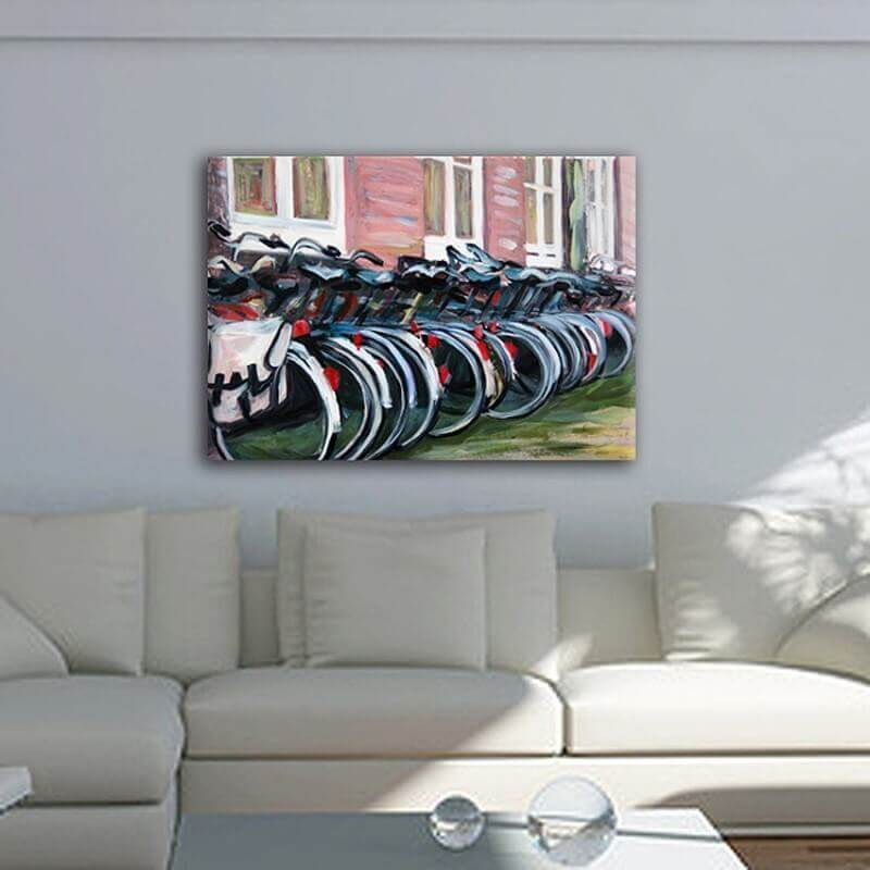 MODERN Urban painting-bicycles in Amsterdam