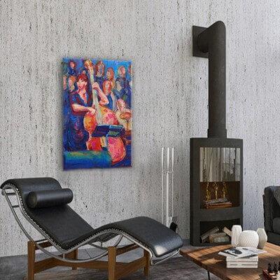 cuadros modernos figurativo  mujer y contrabajo