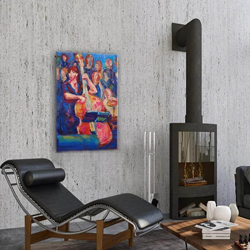 quadre figuratiu dona i contrabaix