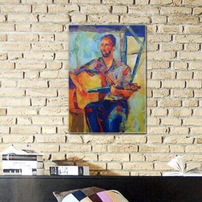Tableau figuratif guitariste