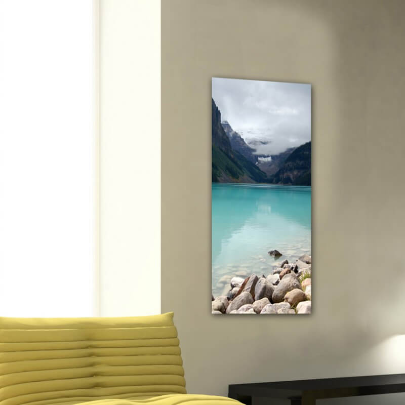 Landscapes painting photography stones, lake and glacier -