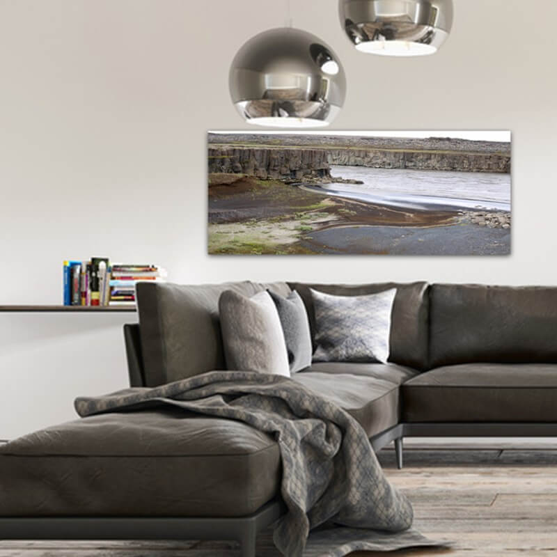 Landscapes painting photography river in calm - Iceland