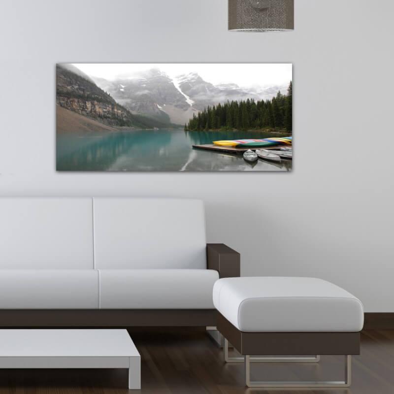 cuadro fotografía paisajes lago y canoas - Canadá