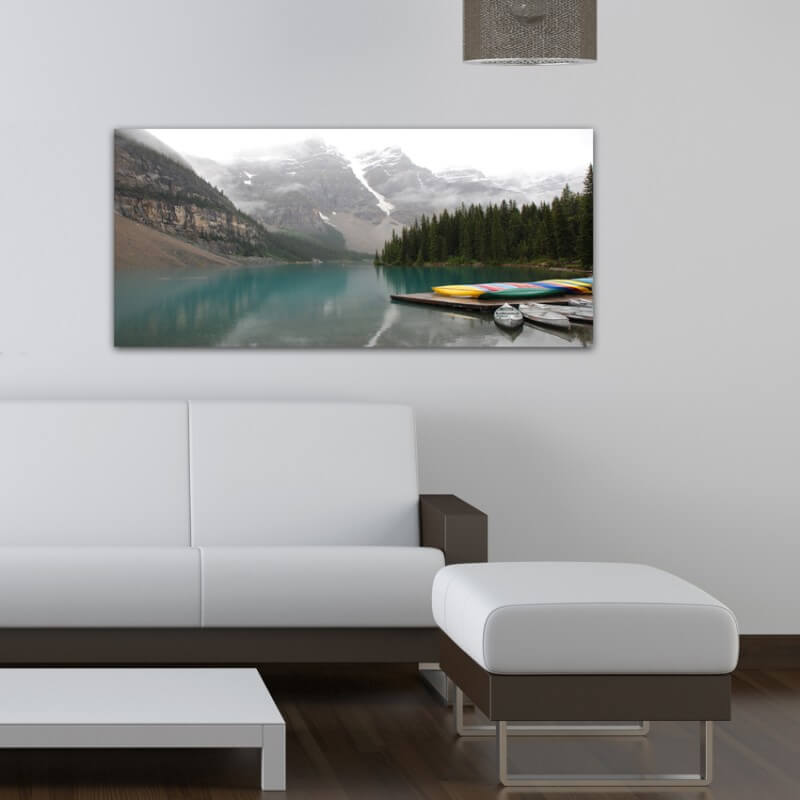 Landscapes painting photography lake and canoes - Canada