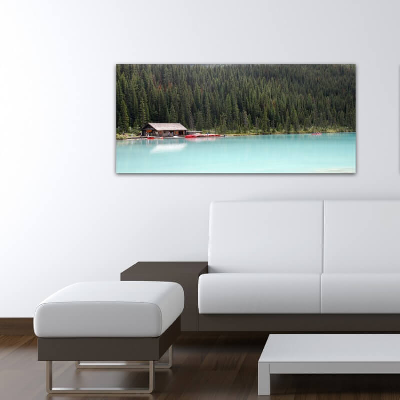 Landscapes painting photography cabin on the lake - Canada