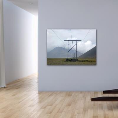 Tableau photographie paisajes poteaux électriques - Islande