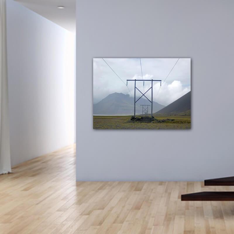 Quadre fotografia paisatge pals d'electricitat - Islàndia