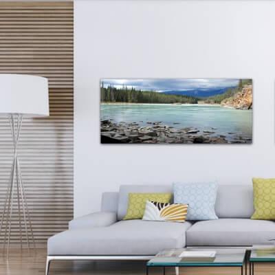 cuadros modernos fotografía piedras en el rio Frasser - Canadá