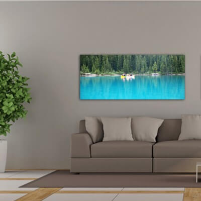 Landscapes painting photography canoe on the lake - Canada
