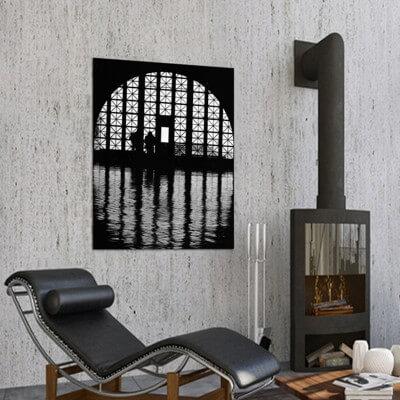 cuadros modernos fotografía ventana en Ellis Island Nueva York
