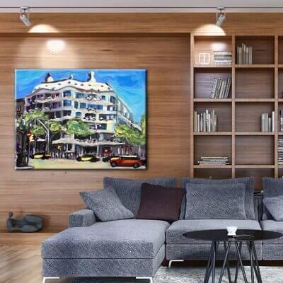 cuadros modernos de ciudades para el salón-la Pedrera de Barcelona