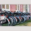 abstract Urban painting-bicycles in Amsterdam