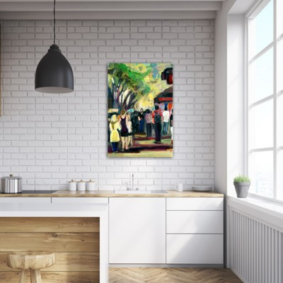 modern urban paintings for the kitchen-the Ramblas II