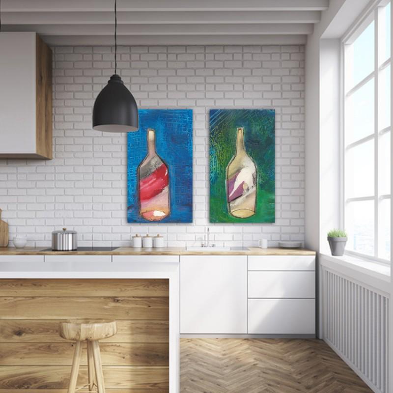 quadres moderns de bodegons per decorar la cuina-díptic fons d'ampolla