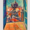 modern urban painting for the bed room-view of Barcelona cathedral