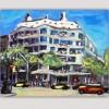 cuadro moderno ciudad para el dormitorio- la Pedrera de Barcelona