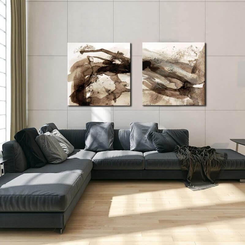 cuadros modernos abstractos para el salón-díptico divagar