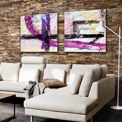 Abstract painting diptych solid line