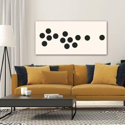 Tableaux abstraits minimalistes géométriques pour le salon-séquence de cercles noirs