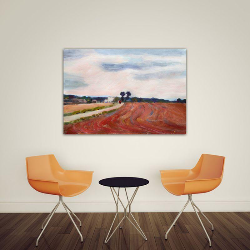 cuadros modernos paisajes para el comedor-campos labrados II