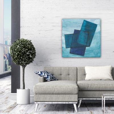 abstract modern painting to decorate the living room-blue transparency