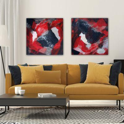 cuadros modernos abstractos para decorar el salón - díptico impulso amoroso