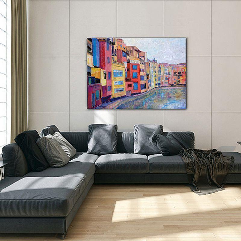 cuadros modernos urbanos de ciudades-casas en el Onyar, Girona