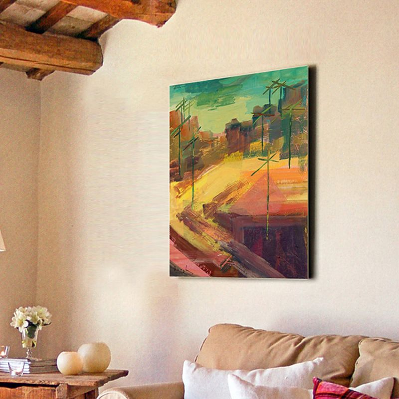 modern urban paintings-view over the rooftops