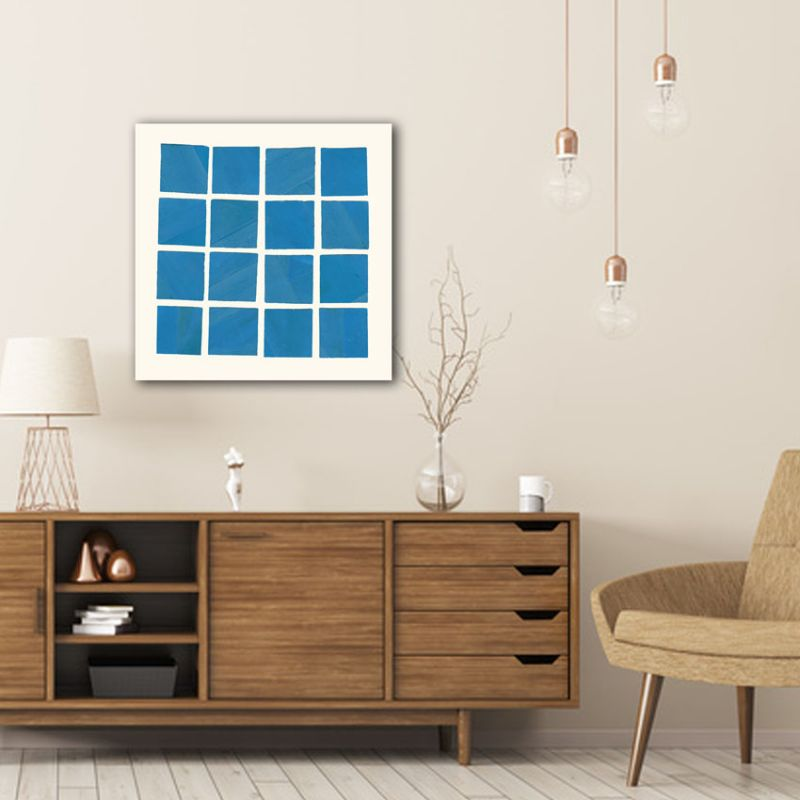 modern minimalist geometric paintings to decorate the living room-blue windows