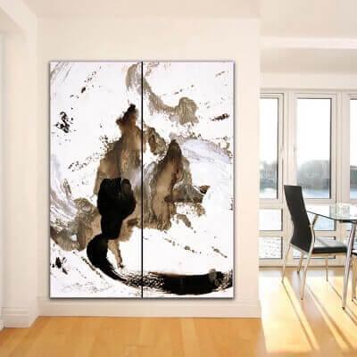 Quadre abstracte díptic vertical pensament