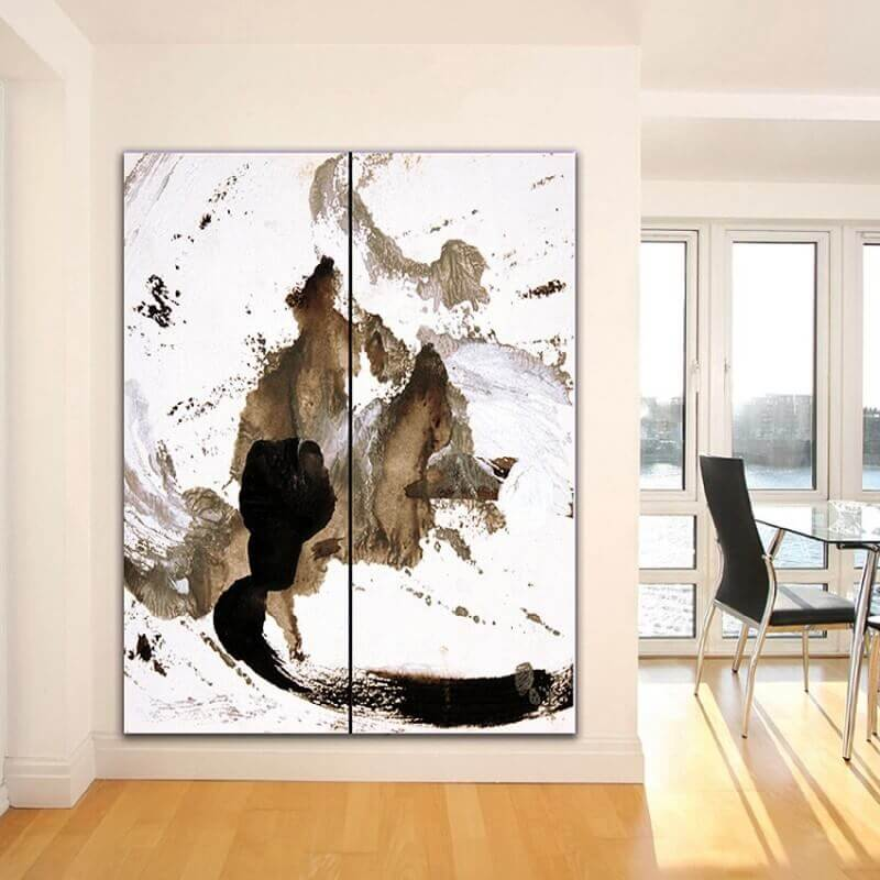 Abstract painting vertical diptych thinking