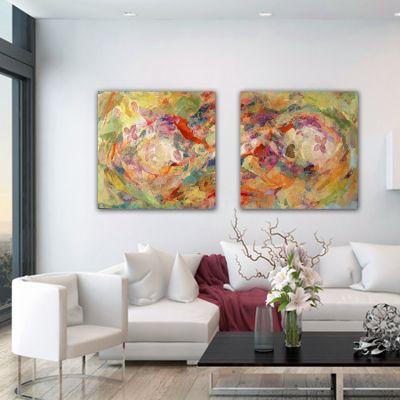 quadres abstractes-díptic a flor de pell