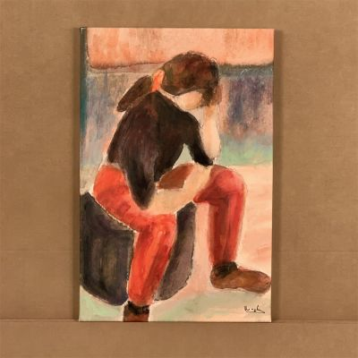 "canvas painting ""joven pensativa"" 36x55 cm."