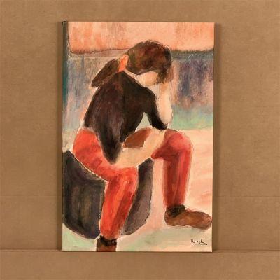 """quadre en canvas """"joven pensativa"""" 36x55 cm."""