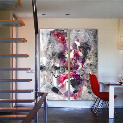 cuadros abstractos modernos para decorar los rellanos de escaleras-díptico vertical discernimiento