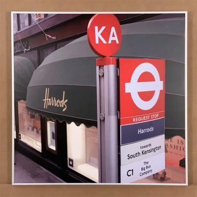 """tableau photo """"Harrods bus stop"""" 70 x 70 cm."""