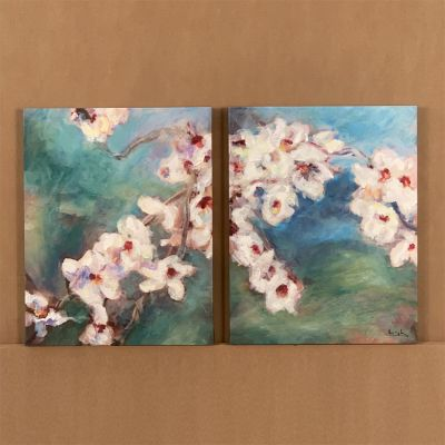 "dipthyque en canvas ""flor de almendro"" 2 u. "" 36 x 45 cm."