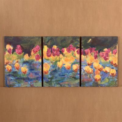 """tríptico en canvas """"tulipanes"""" 3 u. """" 40 x 55 cm."""