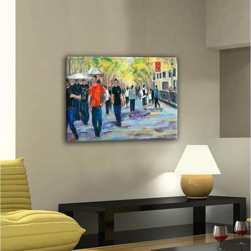 cuadros modernos urbanos para la sala de estar-las Ramblas I
